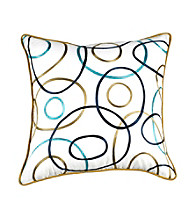 Surya White Multi-Colored Thin Circles Decorative Pillow