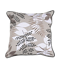 Surya Grey and Taupe Leaves Decorative Pillow
