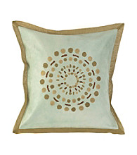 Surya Sky and Khaki Large Cirlce Decorative Pillow