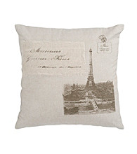 Surya Beige and Brown Eiffel Tower Decorative Pillow