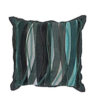 Surya Navy and Charcoal Swirls and Stripes Decorative Pillow