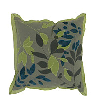Surya Khaki and Lime Leaves Decorative Pillow