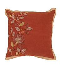 Surya Rust and Gold Floral Designs Decorative Pillow
