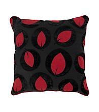 Surya Black and Red Bold Leaves Decorative Pillow