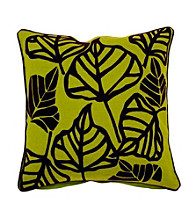 Surya Green and Brown Large Leaves Decorative Pillow