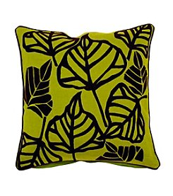 Chic Designs Green and Brown Large Leaves Decorative Pillow