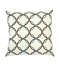 Surya Ivory and Tan Large Thin Circles Decorative Pillow