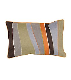 Chic Designs Chocolate and Sage Thick and Thin Stripes Decorative Pillow