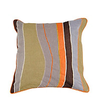 Surya Chocolate and Sage Thick and Thin Stripes Decorative Pillow