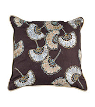 Surya Chocolate and Pewter Metallic Petals Decorative Pillow