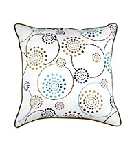 Surya White and Teal Dots Decorative Pillow