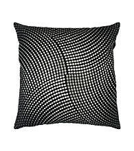 Surya Black and Silver Metallic Circles Decorative Pillow