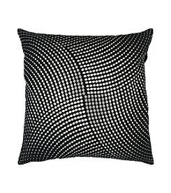 Chic Designs Black and Silver Metallic Circles Decorative Pillow