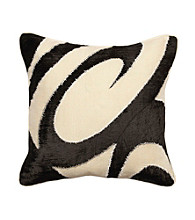 Surya Ecru and Black Thick Swirls Decorative Pillow