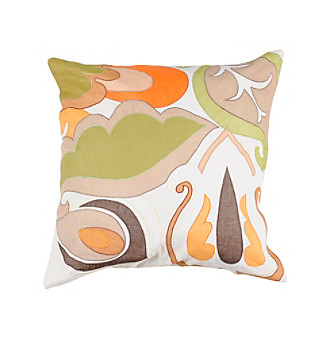 Chic Designs White Large Colorful Leaves Decorative Pillow