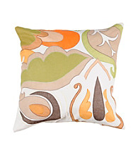 Surya White Large Colorful Leaves Decorative Pillow