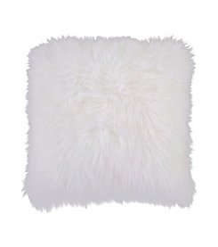 Chic Designs White Furry Decorative Pillow