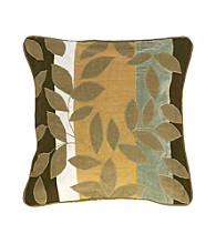 Surya Sand and Chocolate Leaves and Stripes Decorative Pillow
