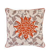 Surya Ecru and Rust Large Flower Decorative Pillow