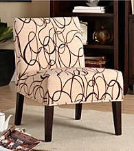 Home Interior Brown Swirl Print Lounge Chair