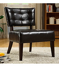 Home Interior Brown Faux Leather Armless Chair