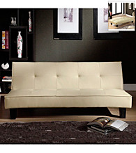 Home Interior Soft White Faux Leather Mini Futon Sofa Bed