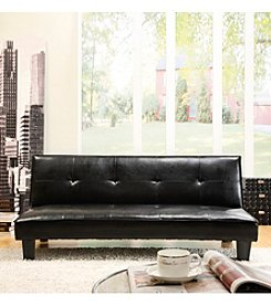 Home Interior Brown Faux Leather Mini Futon Sofa Bed