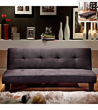 Home Interior Black Microfiber Suede Mini Futon Sofa Bed