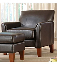 Home Interior Dark Brown Vinyl Accent Chair
