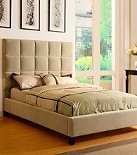 Home Interior Camel Velvet Tufted Queen Size Bed