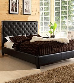 Home Interior Dark Brown Faux Leather Tufted Queen Size Platform Bed