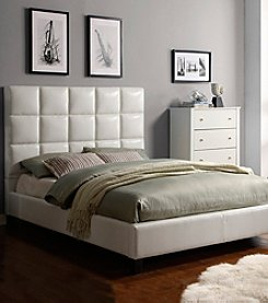 Home Interior White Faux Leather Tufted Queen Size Bed