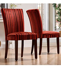 Home Interior Set of 2 Red Stripe Print Dining Chairs