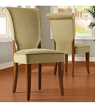 Home Interior Set of 2 Olive Velvet Side Chairs