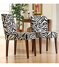 Home Interior Set of 2 Zebra Print Dining Chairs