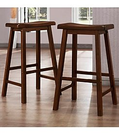 Home Interior Set of 2 Saddle Back Cherry Stools