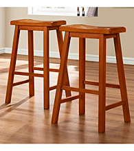 Home Interior Set of 2 Saddle Back Oak Stools