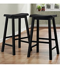 Home Interior Set of 2 Saddle Back Black Stools