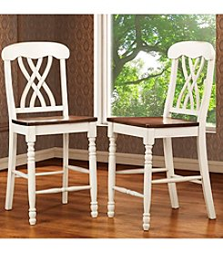 """Home Interior Set of 2 Antique White 24"""" Counter Height Chairs"""