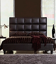 Home Interior Dark Brown Faux Leather Tufted Queen Size Bed