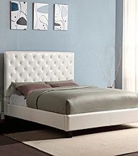 Home Interior White Faux Leather Tufted Queen Size Platform Bed