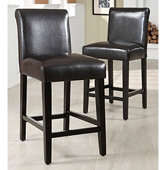 "Home Interior Set of 2 24"" Brown Faux Leather Bar Stools"
