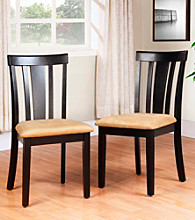 Home Interior Set of 2 Slat Back Black Dining Chairs