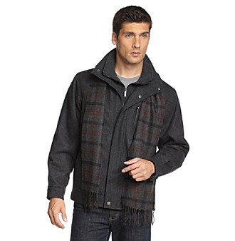London Fog® Men's Wool Hipster Jacket with Bib and Scarf