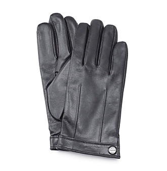 Marc New York Andrew Marc® Men's Black Leather Gloves with Snap Wrist Band