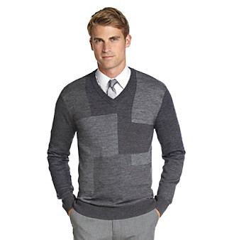 Calvin Klein Men's Colorblocked V-Neck Merino Sweater
