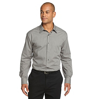 Roll out a cool, dapper look in this contemporary, vertical-stripe buttondown shirt, a great business casual addition to a wardrobe.