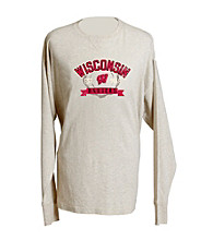 J. America® Men's Oatmeal Vintage Wisconsin Team Tee