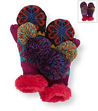 MUK LUKS® Girls Flower Fairisle Pom Mittens