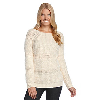 Spense® Knits Shaker Stitch Sweater with Chenille Stripes